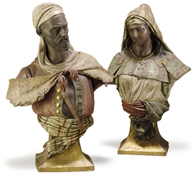 A PAIR OF AUSTRIAN POLYCHROME-