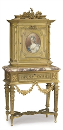 A FRENCH GILT-METAL AND MARBLE