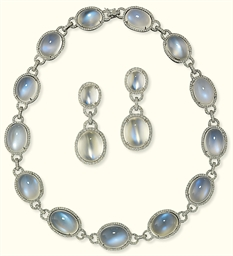 A SUITE OF MOONSTONE AND DIAMO