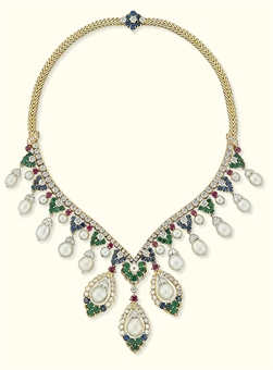A NATURAL AND CULTURED PEARL, DIAMOND AND MULTI-GEM NECKLACE, BY VAN CLEEF & ARPELS | Jewelry Auction | 1970s, Jewelry | Christie's :  cleef locate view multi