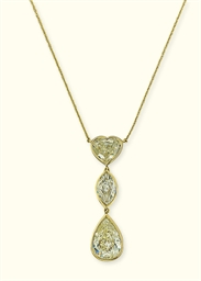 A DIAMOND THREE-STONE PENDANT