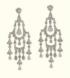 A PAIR OF DIAMOND CHANDELIER E