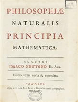 NEWTON, Isaac (1643-1727).  Philosophiae naturalis principia mathematica. London: W. & J. Innys, 1727. Small 4° (238 x 194mm). Half title, title printed in red and black, engraved diagrams (lacking frontispiece portrait, light offsetting title, a few leaves, including title, lightly waterstained, some mainly marginal spotting, occassional soiling). Late 19th-century half calf (scuffed). Provenance: British Astronomical Association (2 stamps on title).