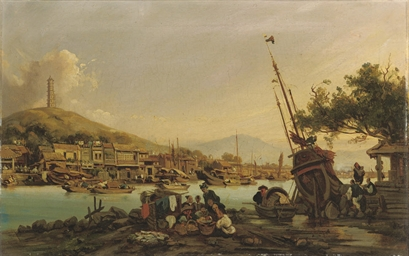 Harbour scene in the Pearl Riv