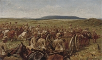 The Royal Horse Artillery and Mounted Infantry crossing the Veldt