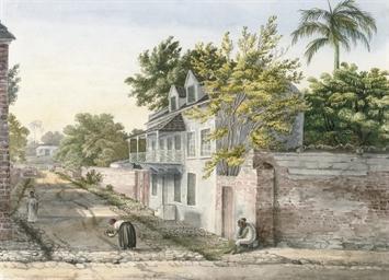 Barbados: A village street sce