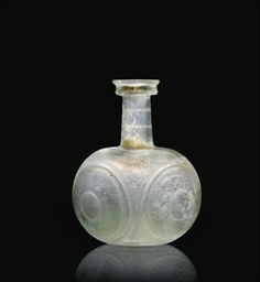 A ROMAN GREEN BLOWN GLASS FLAS