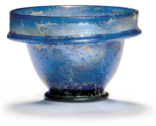 A ROMAN BLUE GLASS PATELLA CUP