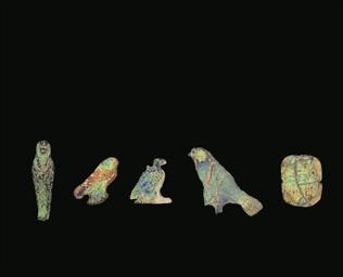 FIVE EGYPTIAN IRIDESCENT GLASS