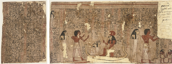 TWO EGYPTIAN PAINTED 'BOOK OF