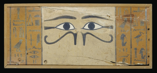 AN EGYPTIAN GESSO-PAINTED WOOD