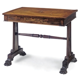 A ROSEWOOD AND OAK LIBRARY TAB