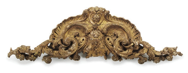 A FRENCH GILT WOOD OVERDOOR CR