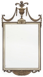 A WHITE PAINTED GILTWOOD MIRRO