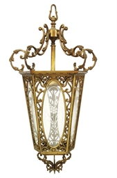 A VICTORIAN BRONZE HALL LANTER