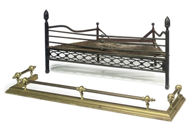 A REGENCY WROUGHT-IRON FIRE-BA