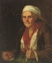 An old woman with a spindle an