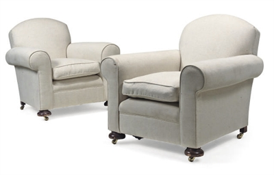 A PAIR OF CREAM UPHOLSTERED AR