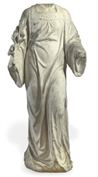 A MARBLE FIGURE OF AN ANGEL