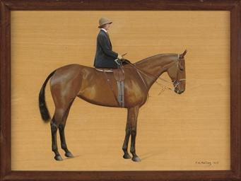 A lady mounted side-saddle on