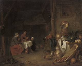 A kitchen interior with a fami