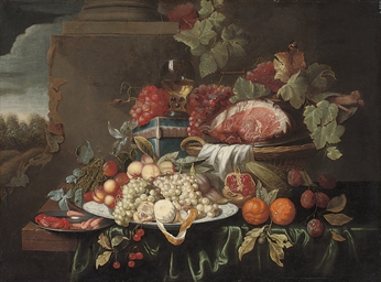 Grapes, a joint of ham, orange