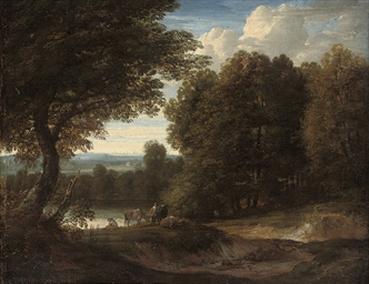A wooded landscape with herdsm