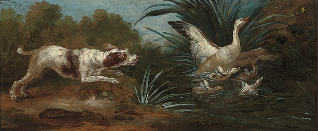 A river landscape with a hound