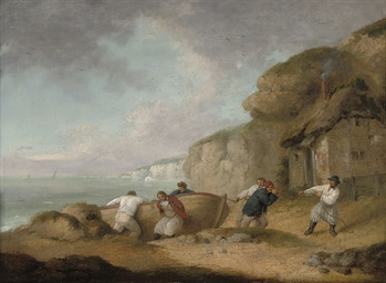 A coastal inlet with fishermen