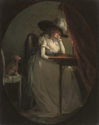 A lady seated at her escritoir