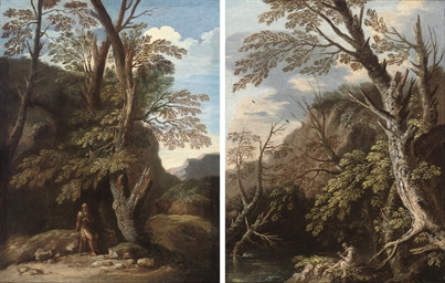 A wooded landscape with a herm