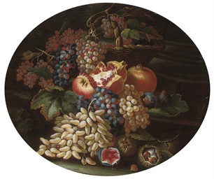 A basket of grapes, pomegranat