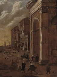 A capriccio of a port