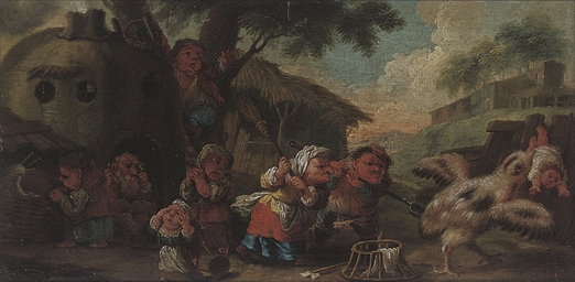 Dwarves rescuing a child from