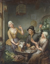 The interior of a grocer's shop, with the grocer and his wife presenting their wares, a birdcage above