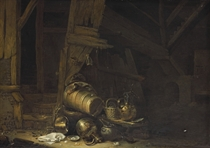 A butter churn, a basket of figs, a bowl of eggs, a frying pan, a broken lamp, a kiln and other vessels in a barn