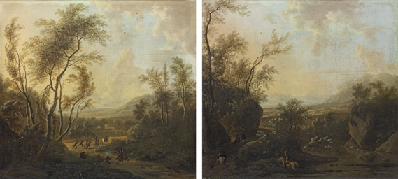 A wooded landscape with cavalr