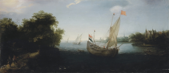 A Dutch merchantman flying the