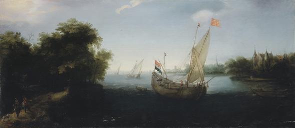A Dutch merchantman flying the