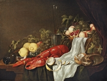 A lobster, a partly-peeled lemon, a basket of fruit, bread, a conch shell and an upturned roemer, with other fruit and vessels on a party-draped table