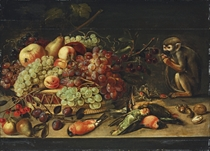 Apples, cherries, apricots and other fruit in a basket, with pears, plums, robins, a woodpecker, a parrot and a monkey eating nuts, on a table