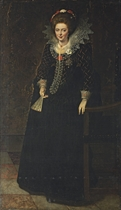 Portrait of a lady, full-length, in a black dress with a jewelled brooch, holding a fan