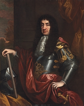 Portrait of King Charles II (1630-1685), three-quarter-length, in armour with a red mantle, holding a commander's baton, a helmet on the table beside him