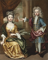 Portrait of a brother and sister, full-length, he standing in blue coat with gold brocading and a red cloak, and she seated in a yellow dress and green cloak, a bird on her left hand, in an interior, a seascape beyond