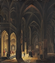 The interior of a Gothic cathedral by torch- and candlelight