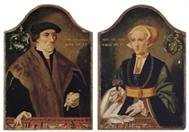Portrait of Goeddert Hittorp (1490-1573), aged 57, half-length, in a fur-trimmed coat and a hat, holding gloves; and Portrait of Gertrud Hittorp, aged 26, half-length, holding a flower