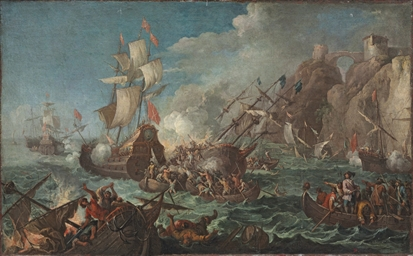 A sea battle with men boarding