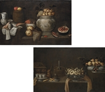 Fish, fruit, a barrel and earthenware vessels on a partly-draped stone ledge; and Fruit and pastries in raised silver platters, with a coffee service and other vessels on a partly-draped stone ledge