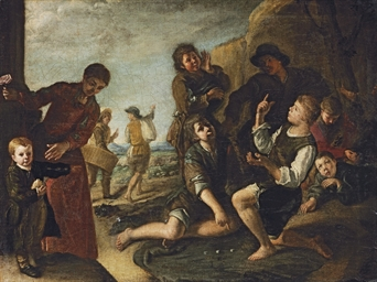 Boys playing dice - a modello