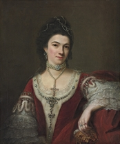 Portrait of Jane, Duchess of St. Albans, half-length, in peeress' robes and pearls